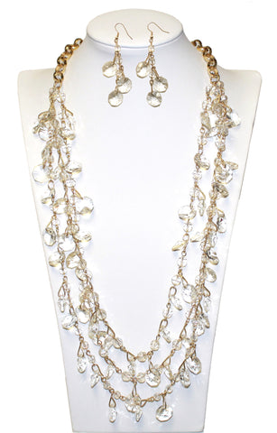 Stacked Crystal Necklace + Earrings - Crystal/Gold