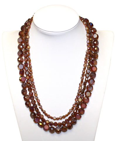 Stacked Beaded Necklace - Red Garnet Iridescent