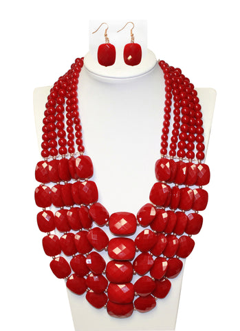 Multi-Layer Necklace And Earrings Jewelry Set - 2 Colors