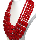 Multi-Layer Necklace And Earrings Jewelry Set - Red