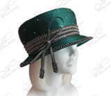 Mr. Song Millinery All-Season Small Brim Hat With Crystal Rhinestones - Green