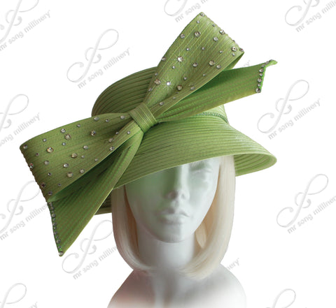 Mr. Song Millinery Medium Width Brim Hat With Rhinestone Bow - 4 Colors