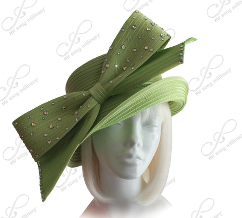 Medium Width Brim Hat With Rhinestone Bow - 2 Colors
