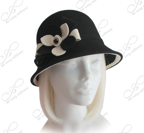 Soft As Cashmere Felt Bucket Cloche Hat - Black/White