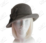 Cashmere-Soft Felt Fedora Bucket Cloche Hat - Gray