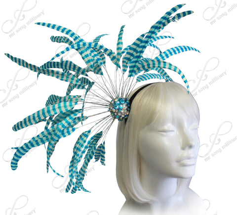 Starburst  Fascinator - Aqua Blue