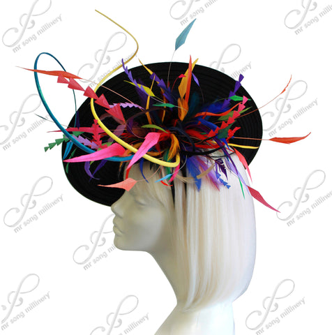 Royal Ascot Profile Dish Fascinator - Black / Multi-Color