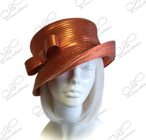 Mr. Song Millinery Medium Lampshade Brim Hat With Sleek Bow Accent - 4 Colors