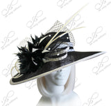 Kentucky Derby Hat - Sinamay Hat With Feather & Veil Netting Accent - Black/White