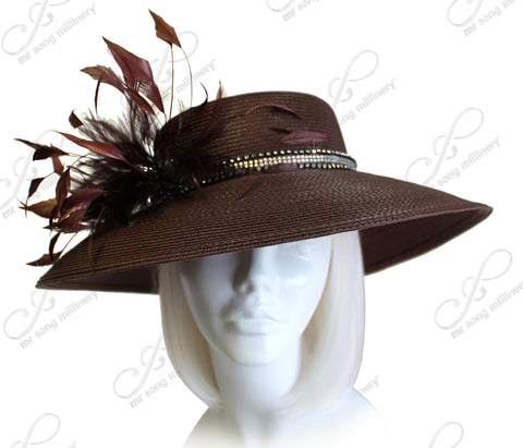 Tagline Straw Tiffany Brim Hatinator With Hand-Conditioned Feather Accent - Brown