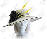 Kentucky Derby Sinamay Straw Hat With Flower Accent - White/Black/Yellow