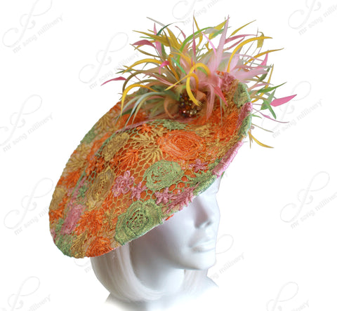 Royal Ascot Sinamany Profile Dish Fascinator With Premium Lace - Multi