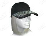 Chunky Rhinestone Encrusted Fitted Baseball Bib-Cap - Black