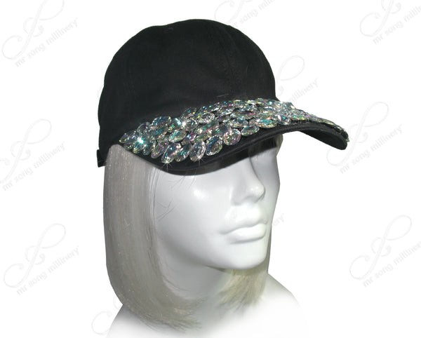 Mr. Song Millinery Chunky Rhinestone Encrusted Fitted Baseball Bib-Cap - Black