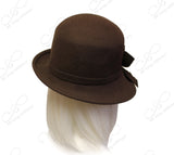 Soft As Cashmere Felt Bucket Cloche With Turned-Up Brim - Brown