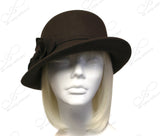 Softest Felt Bucket Fedora Cloche Hat With Bias Brim - Brown