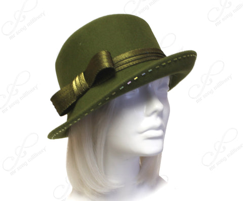 Softest Felt Fedora Cloche Hat With Turned-Up Brim - Olive Green