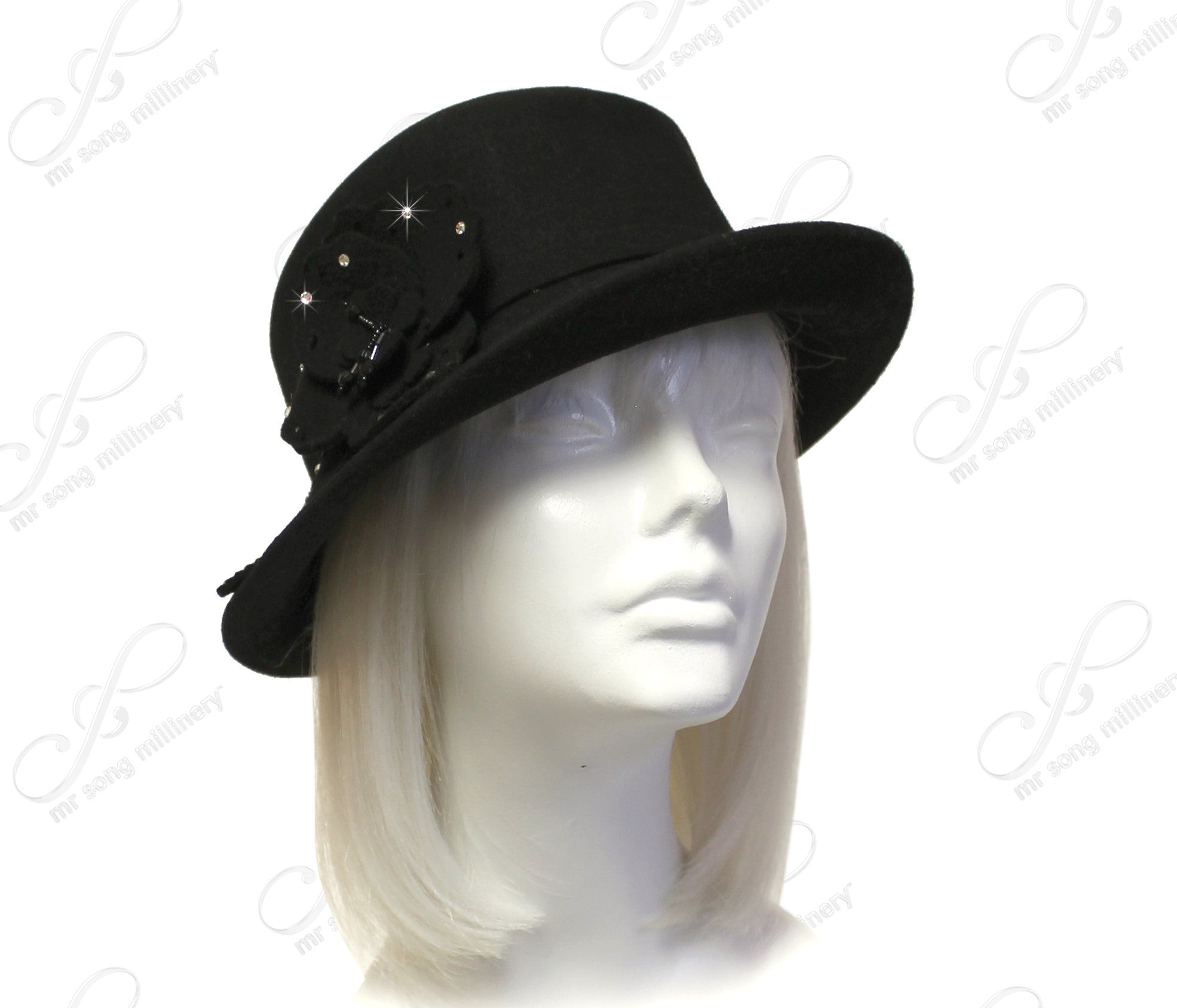 Mr. Song Millinery Softest Felt Bucket Fedora Cloche Hat With Bias Brim - Black