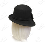 Softest Felt Bucket Fedora Cloche Hat With Bias Brim - Black