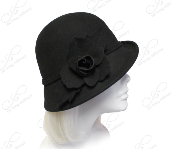 Mr. Song Millinery Felt Bell Cloche Bucket Style Hat In Biased Brim - Black