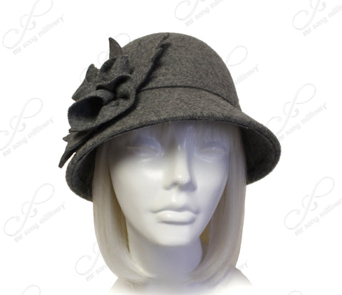 Cashmere-Soft Felt Bell Cloche Bucket Hat - Heather Gray