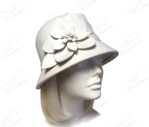 Softest Felt Bell Cloche Bucket Style Hat With Flora Accent - White