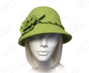Mr. Song Millinery Softest Felt Bell Cloche Bucket Hat - Chartreuse