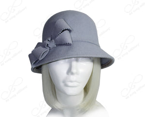 Mr. Song Millinery Softest Felt Bell Cloche Bucket Hat - Periwinkle Blue