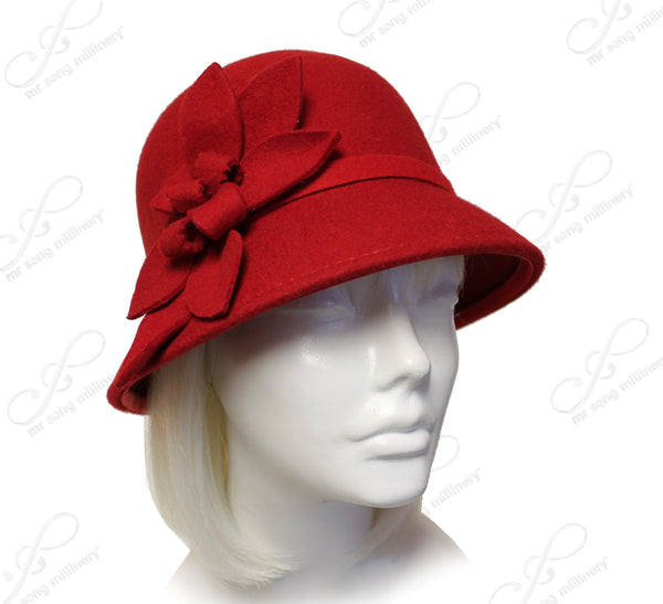Mr. Song Millinery Softest Felt Bell Cloche Bucket Style Hat With Floral Accent - Red