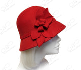 Softest Felt Bell Cloche Bucket Style Hat With Floral Accent - Red
