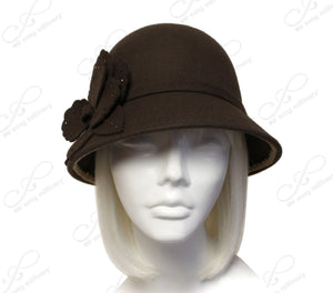 Mr. Song Millinery Softest Felt Bell Cloche Bucket Style Hat With Floral Accent - Brown