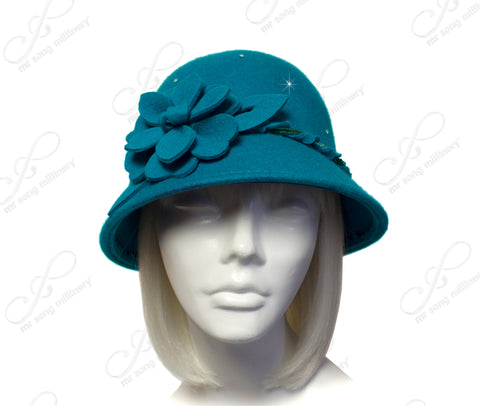 Softest Felt Bell Cloche Bucket Hat - Turquoise Blue