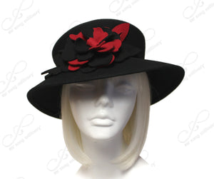 Mr. Song Millinery Felt Brimmed Hat Floral Accent - Black/Red