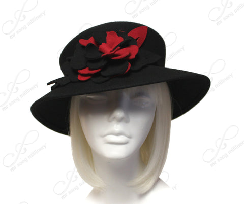 Felt Brimmed Hat Floral Accent - Black/Red