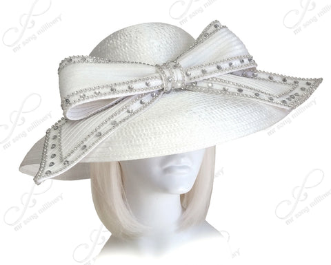 Wide Brim Hat With Signature Rhinestoned Bow Accent - Assorted Colors