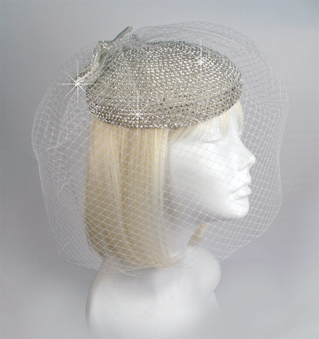 Mr. Song Millinery Crystal Birdcage Veil Beanie Fascinator Headpiece