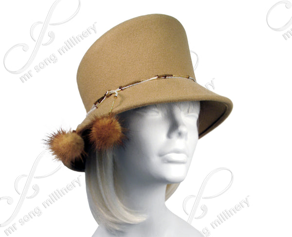Mr. Song Millinery Soft-As-Cashmere Felt Bucket Cloche Hat - Camel Beige