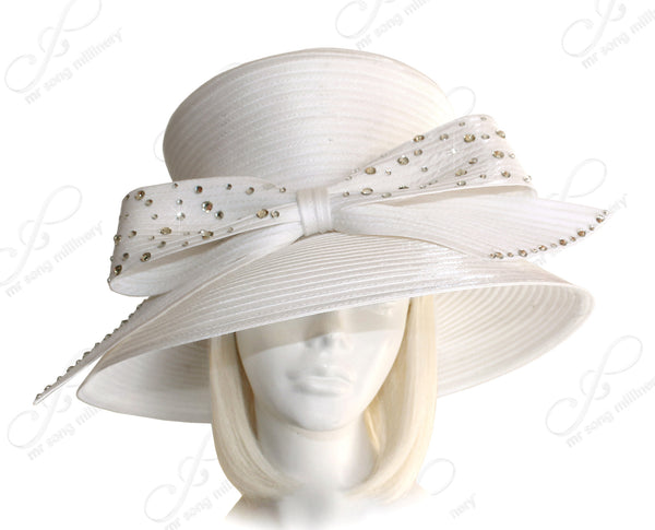 Mr. Song Millinery Flare Top Wide Brim Hat With Rhinestone Bow -White