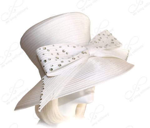 Flare Top Wide Brim Hat With Rhinestone Bow - 2 Colors