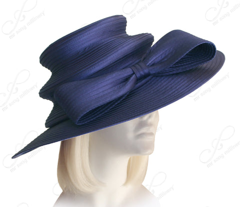3-Tier Crown Medium Brim Hat With Crin Accent - Purple
