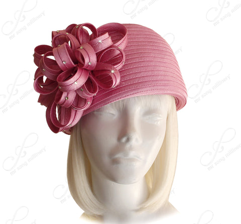 Beret Cloche Hat With Floral & Rhinestone Accent - Assorted Colors