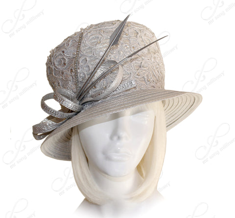 Mr. Song Millinery Classic Crown Small Brim Hat With Premium Lace - Pewter Silver