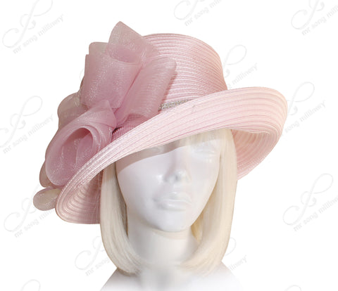 Medium Lampshade Brim Hat Brim With Crin Hair Accent - Pink