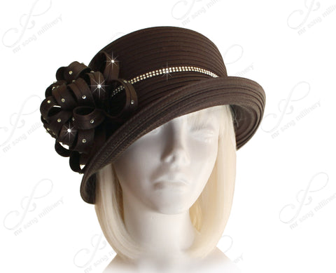 Medium Lampshade Brim Hat Brim With Floral Accent - Brown