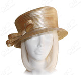 Small Width Brim Hat With Slant Top Crown - Gold
