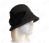 Cashmere-Soft Felt Bell Cloche Bucket Hat - Black
