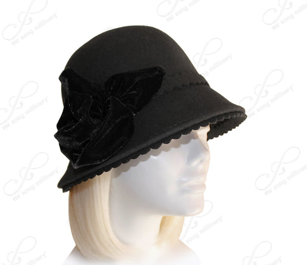 Mr. Song Millinery Cashmere-Soft Felt Bell Cloche Bucket Hat - Black