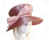 Mushroom Crown Wide Brim With Knot Bow - Mauve Pink
