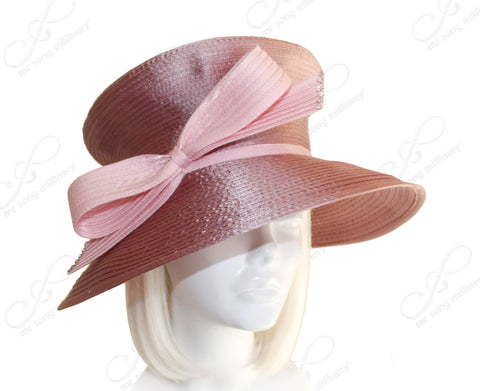 Mr. Song Millinery Mushroom Crown Wide Brim With Knot Bow - Mauve Pink