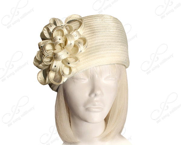 Mr. Song Millinery Beret Cloche Hat With Floral & Rhinestone Accent - Off White